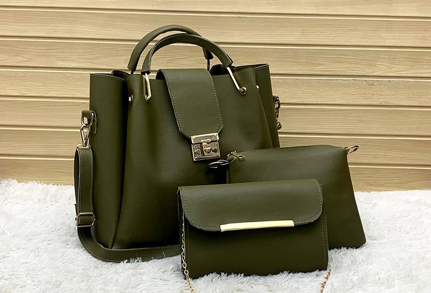 3 PCS leather hand bag set