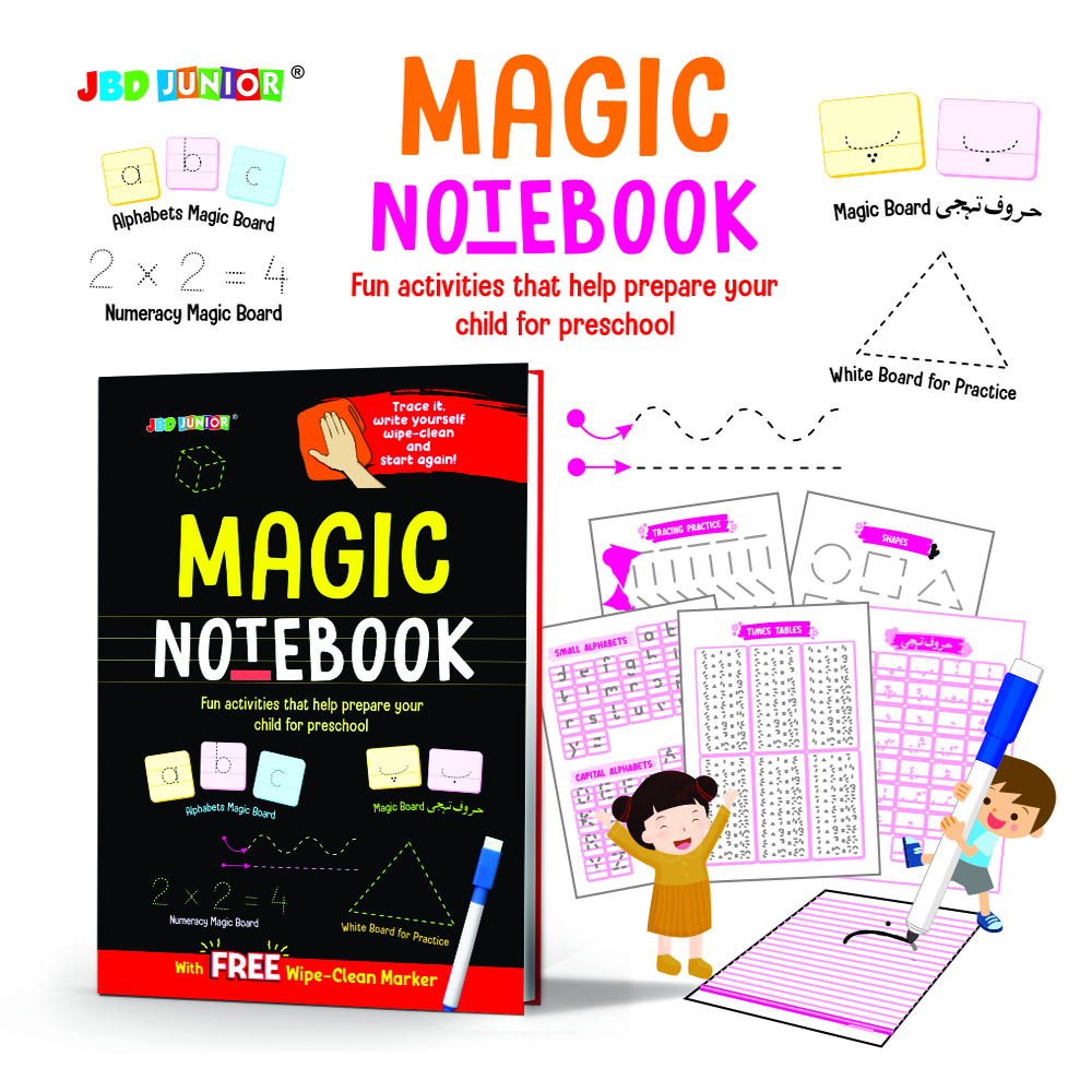 Magic notebook -Trace it write yourself wipe clean and start again - Learning - wipe and clean - skills - kids - early learning - write and erase- fun - entertainment - gadget - interacting- Abc - 123 - Alif bey pay .
