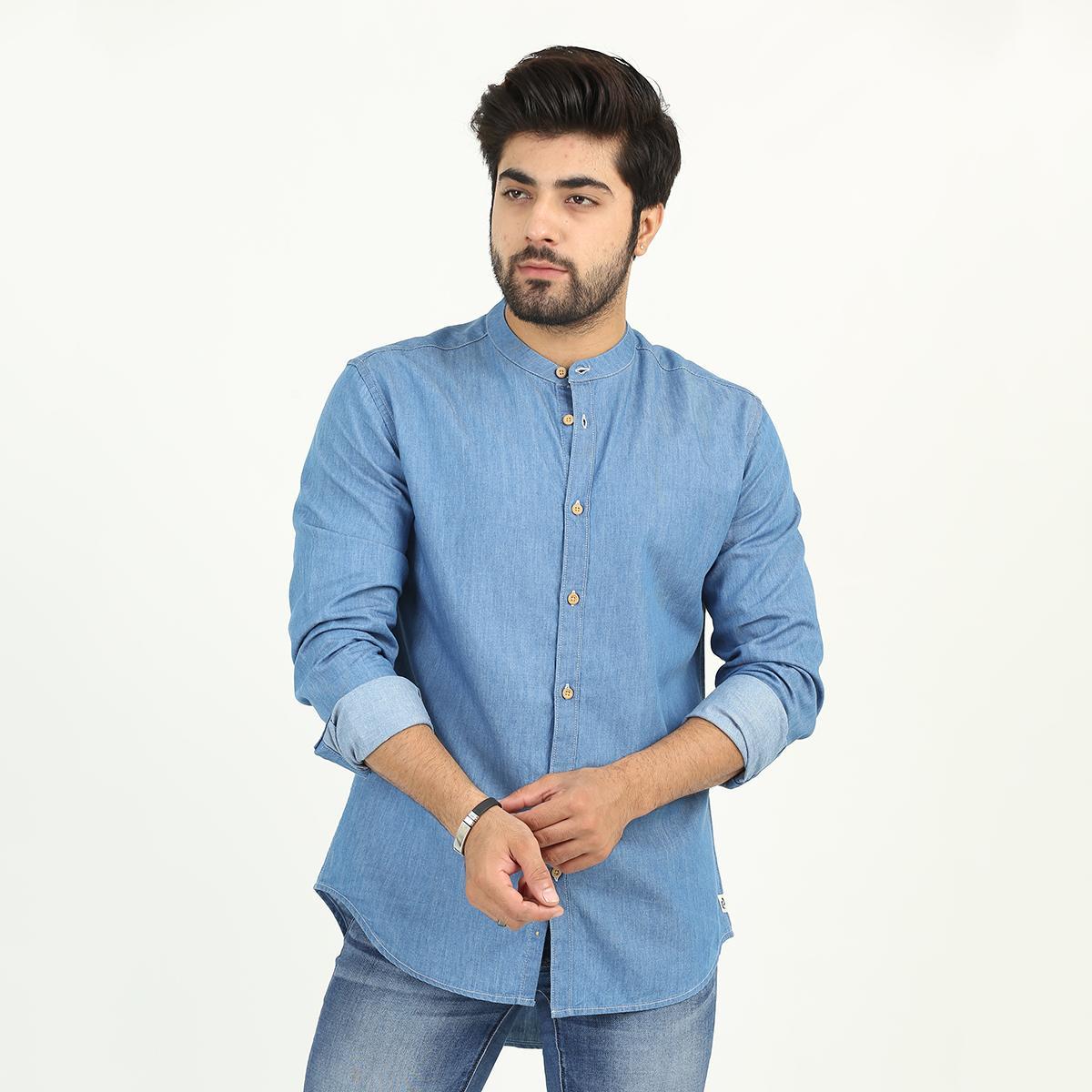 Denizen Banded Collar Shirt Stonewash Shirts Men 34652-0001