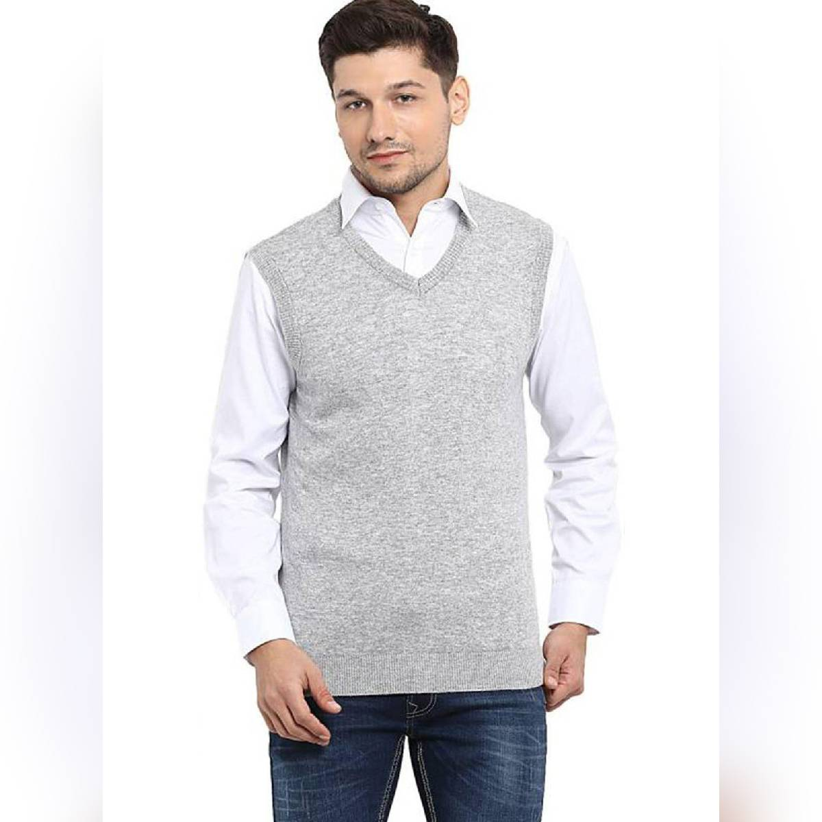 BWS |Sleeve Less Fleece Sweaters In Grey For Him !
