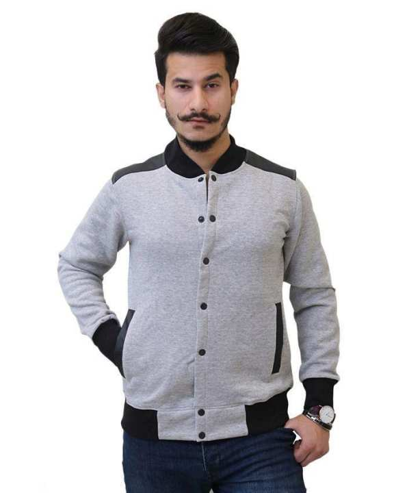 Light Grey Fleece Baseball Jacket for Men
