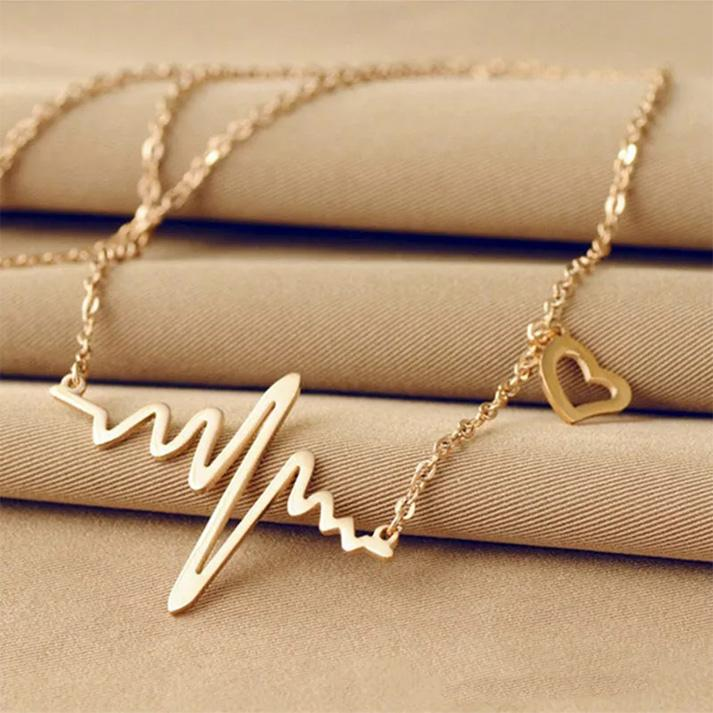 c198d5d78cd Gold Plated Heartbeat Stainless Steel Woman Necklace Jewelry