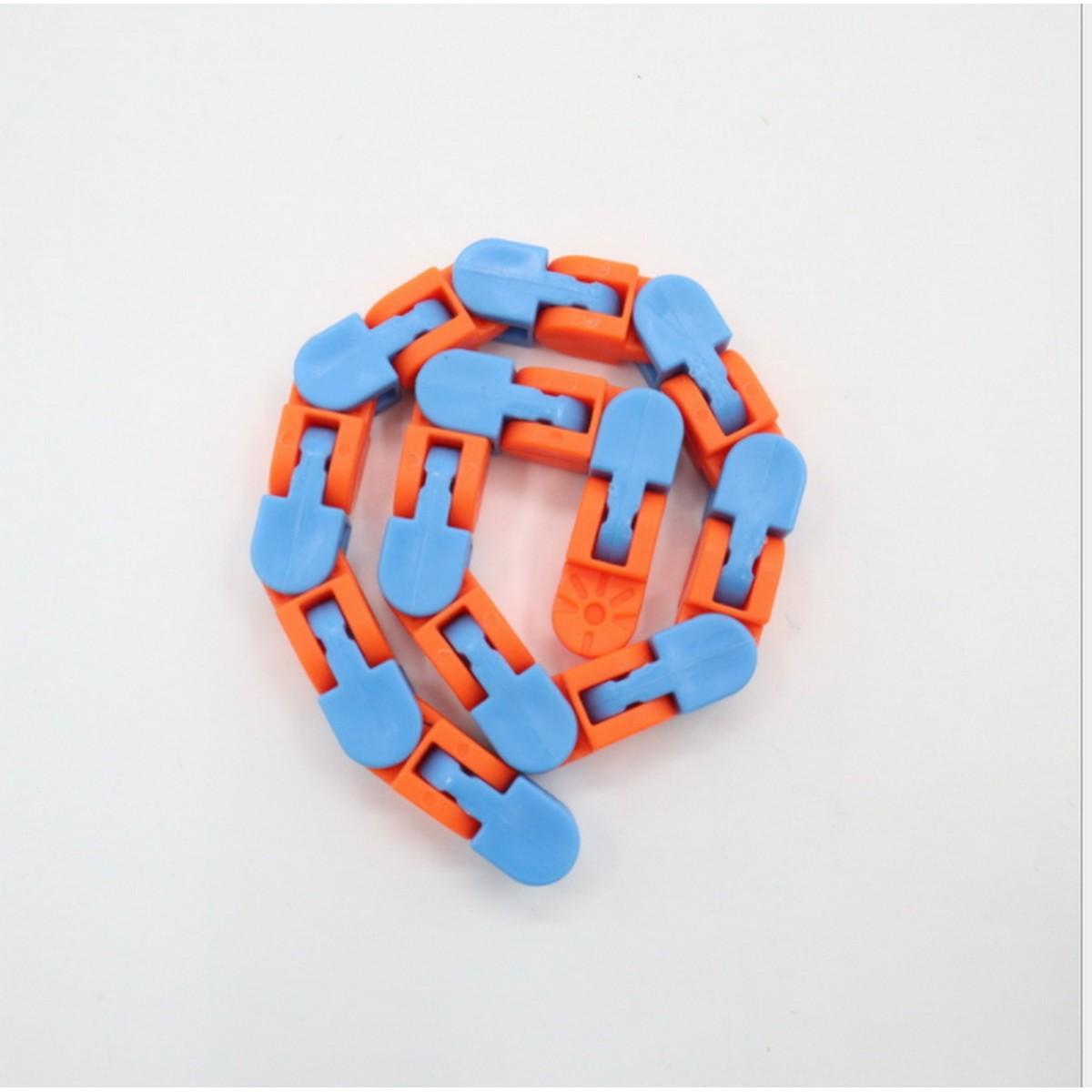 Kids DIY Snake Puzzles Fidget Toys Snap and Click Sensory Toy Autism Stress Reliever 24 Links Wacky Track Fidget Toy