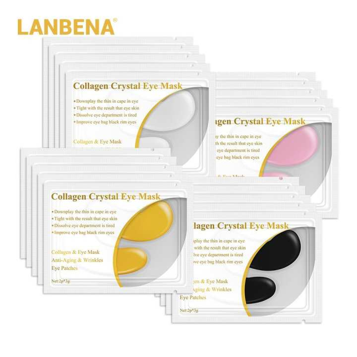 LANBENA 1 pair 24K Collagen Eye Mask Patches Dark Circle Sleep gold