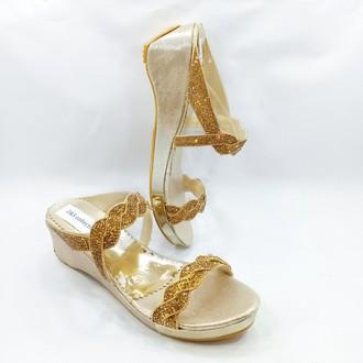 Stylish Golden Wedge Sandal For Women Fashion #02