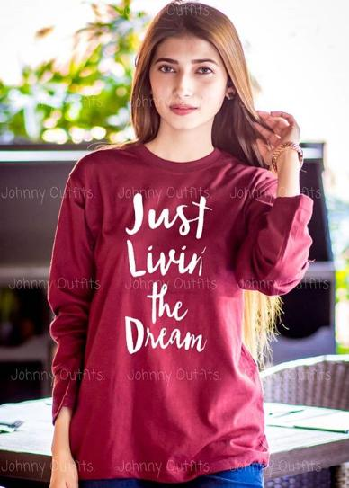 Just Living the Dream Printed Red Full Sleeve  t-shirt for women Casual Cotton  tshirts For Lady
