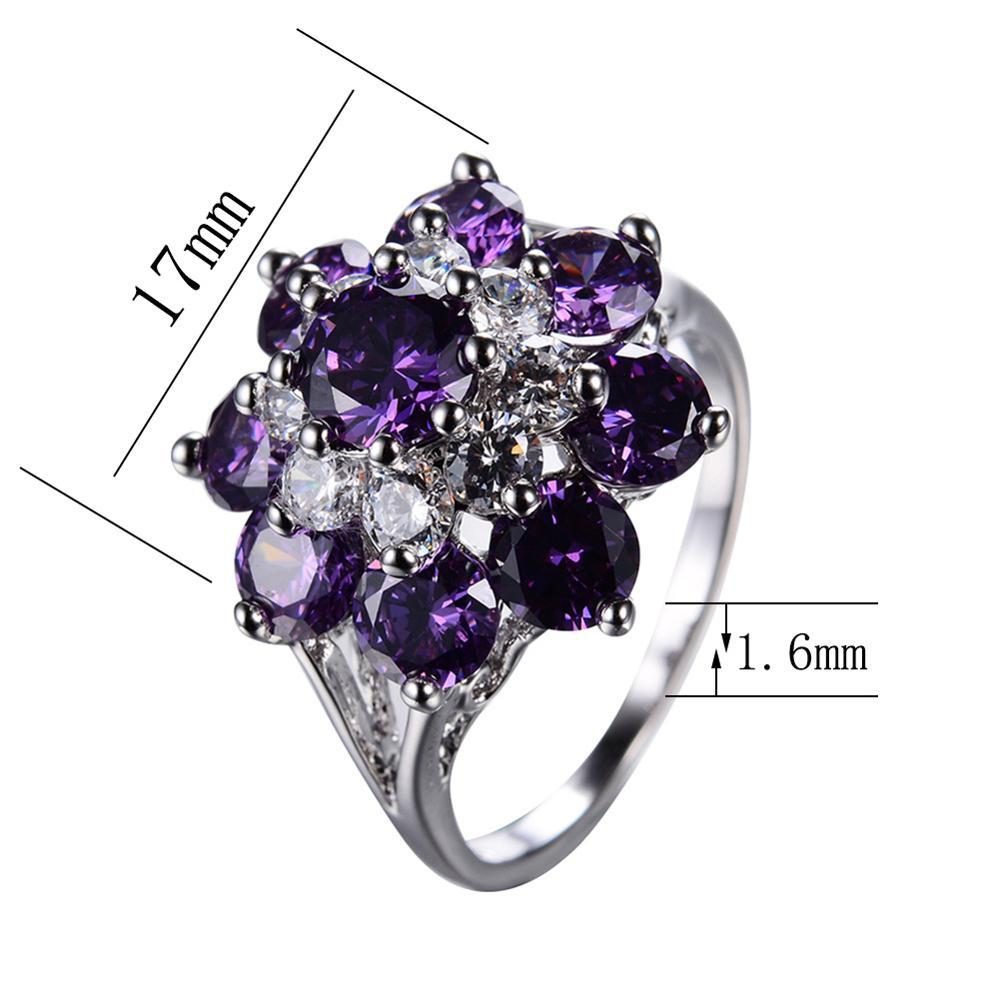 Imported High Quality Silver Black White Purple Red CZ Diamond Zircon Rings for Girls Women - RW0219