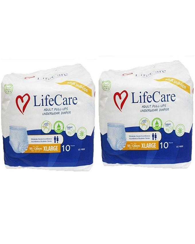 Life Care pack of 2- Adult panty diapers [X-Large}- 10