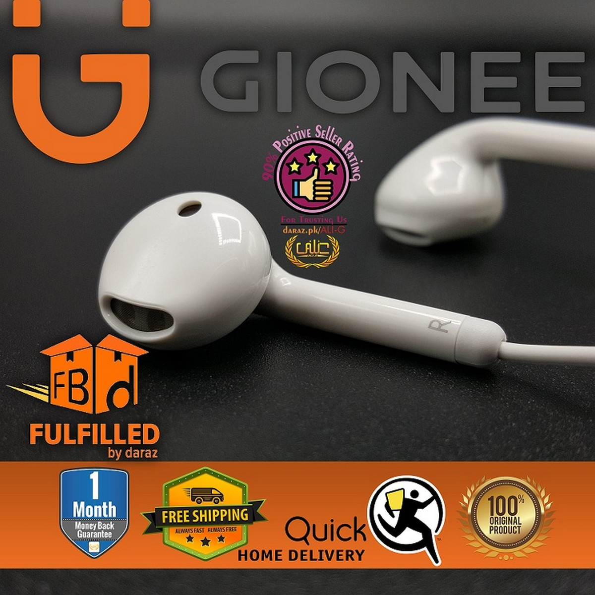 Gionee Earphone Mobile Handsfree for Gaming Music PUBG with Mic Handfree for Girls and Boys - White - 100% Original
