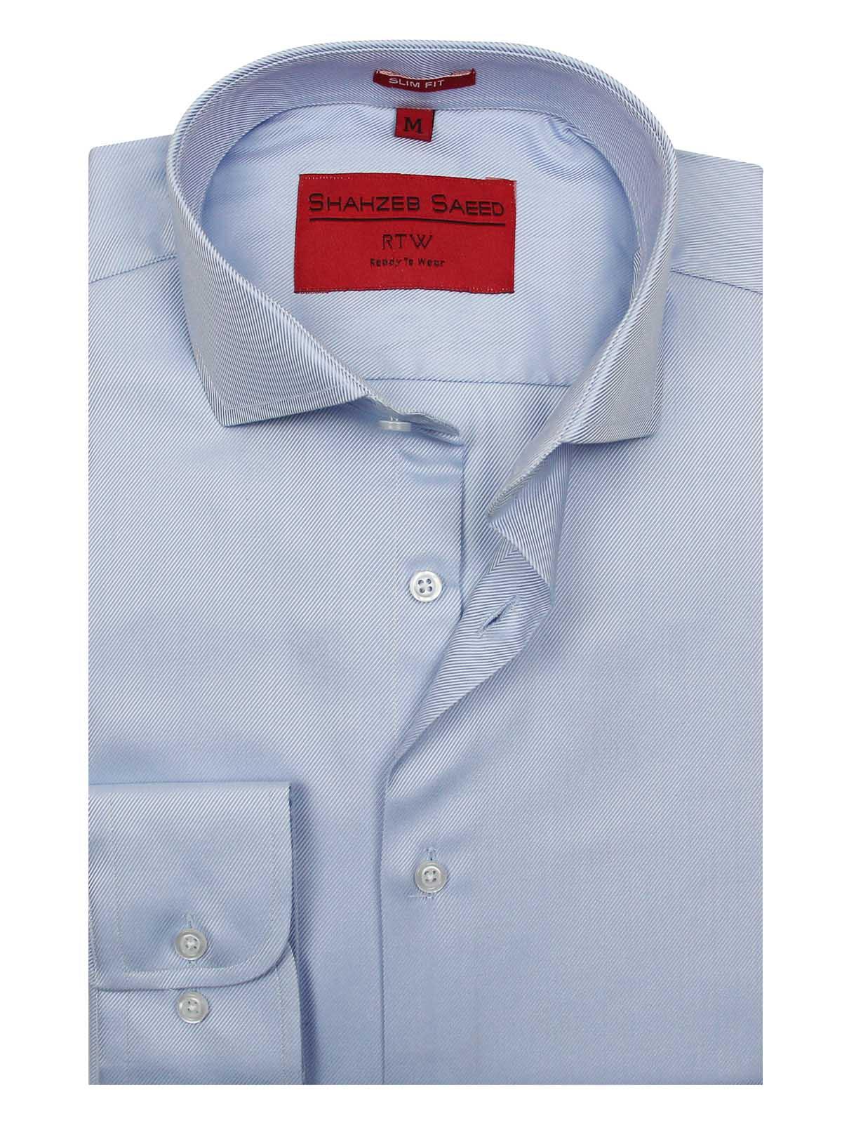 Shahzeb Saeed Royal Blue Plain Regular Fit Dress Shirt For Men