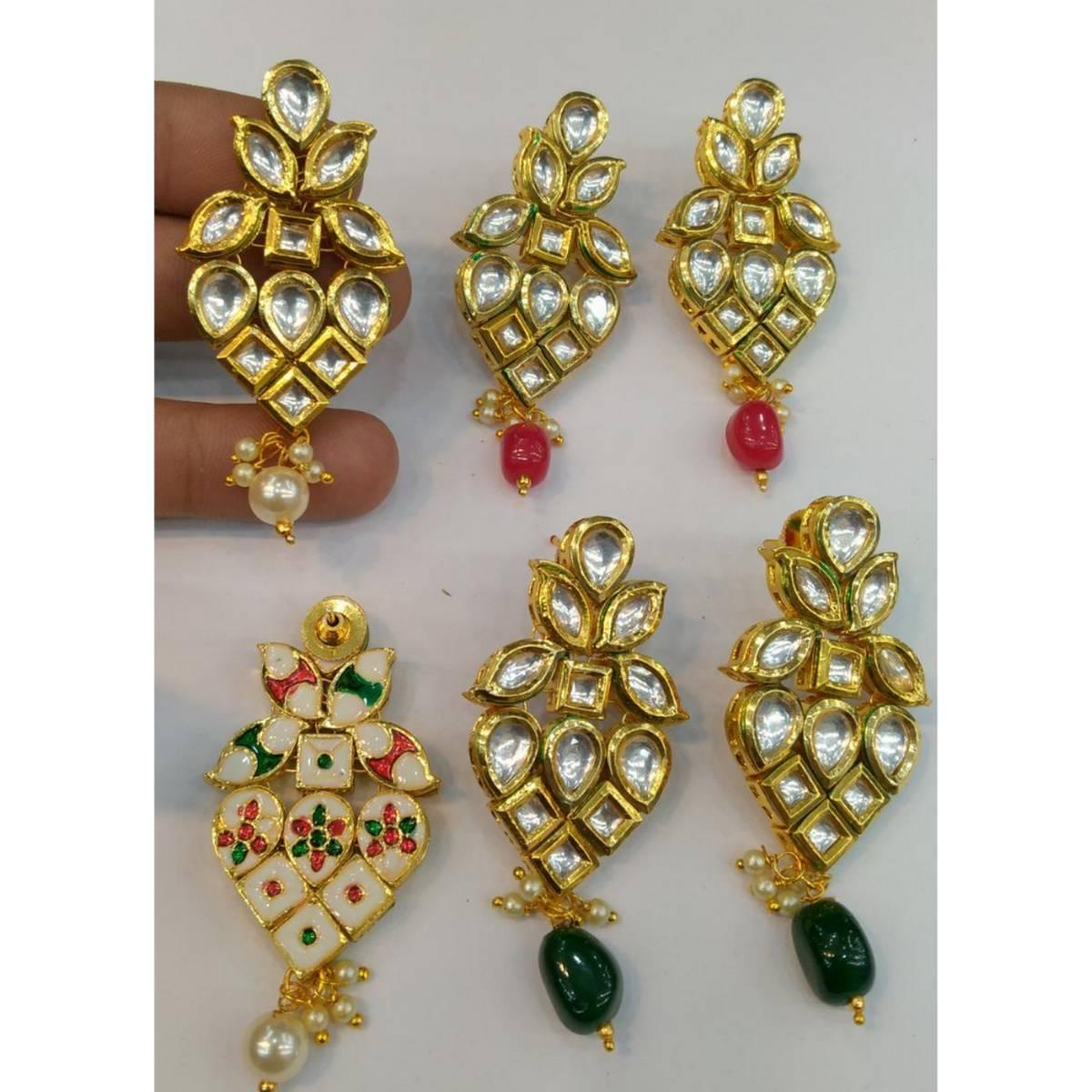 Kundan Indian Artificial Fine Gold Quality Earring