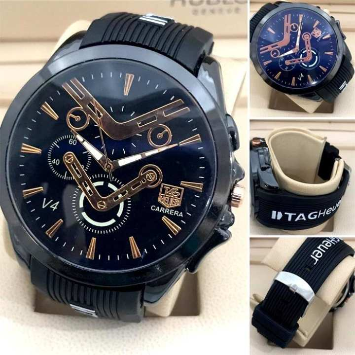 Gents Round Dial PVC Strap Casual Watch for Man SMART Quartz Watches for Boys & Men New Fashion Wrist watch for Casual And Party Wear and Gifts