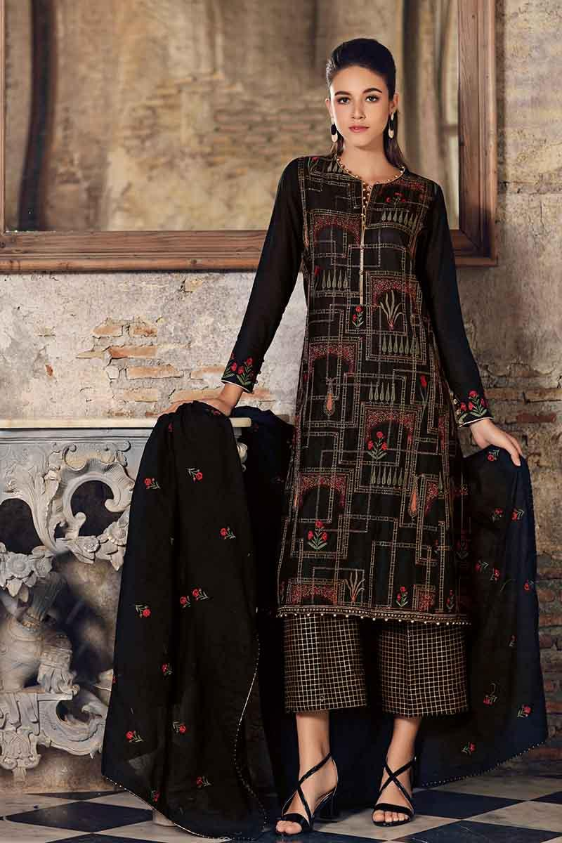 18cc0debea GA - GUL Ahmed-Eid Collection 2019 Black Embroided -3PC Unstitched-FE-