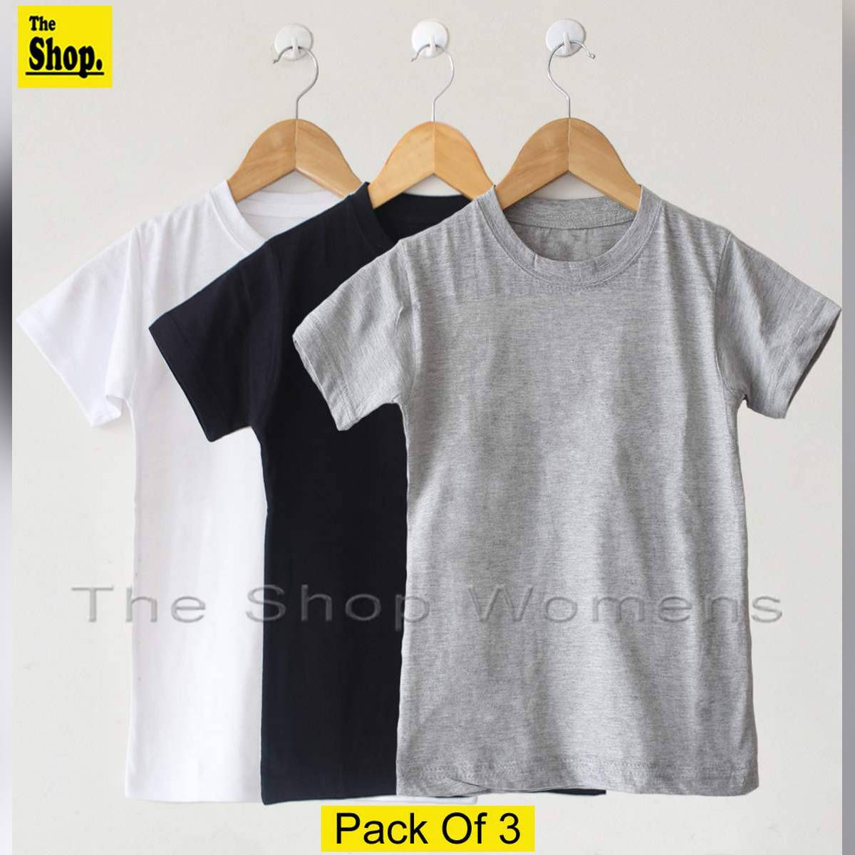 The Shop - White Black & Grey Basic T Shirts For Women - MB-GT3