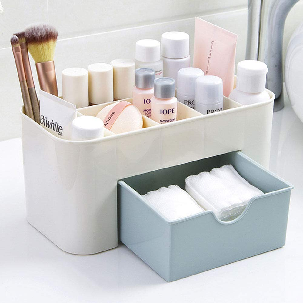 Cosmetic Storage Box Multi Functional Desktop Tidy Organiser Holder with Drawer Random Colour
