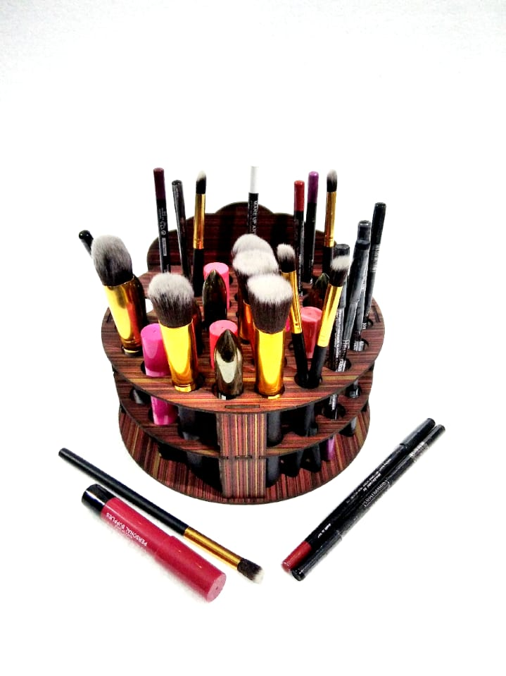 Wooden Makeup and Brushes Stand Cosmetic Organizer (8*8*8) inches