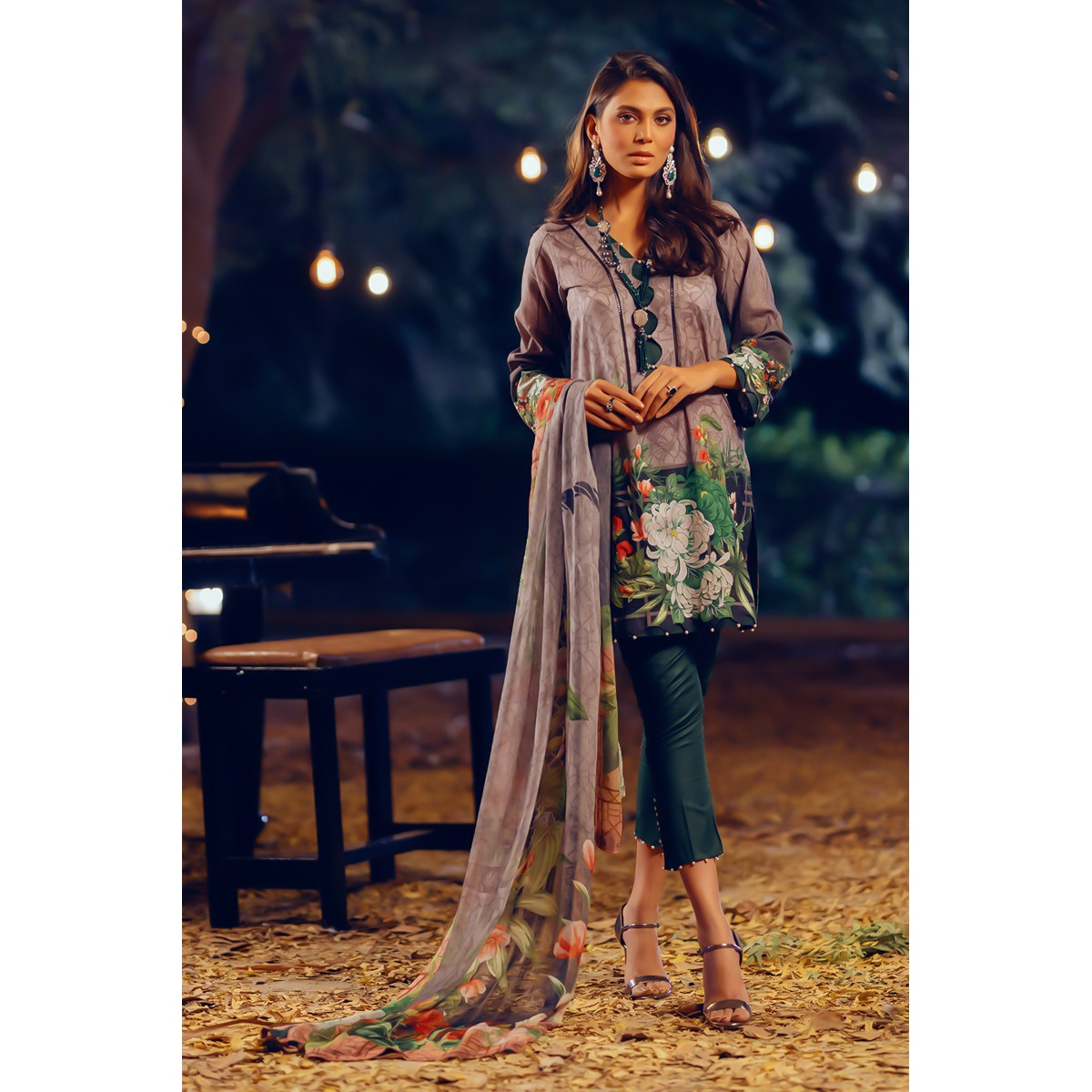 Maahru Koh-e-Noor - Women's Unstitched 3PC Summer Printed Lawn Suit with Chiffon Dupatta