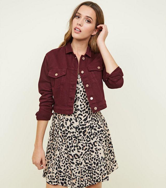 Maroon Denim Jacket For Her