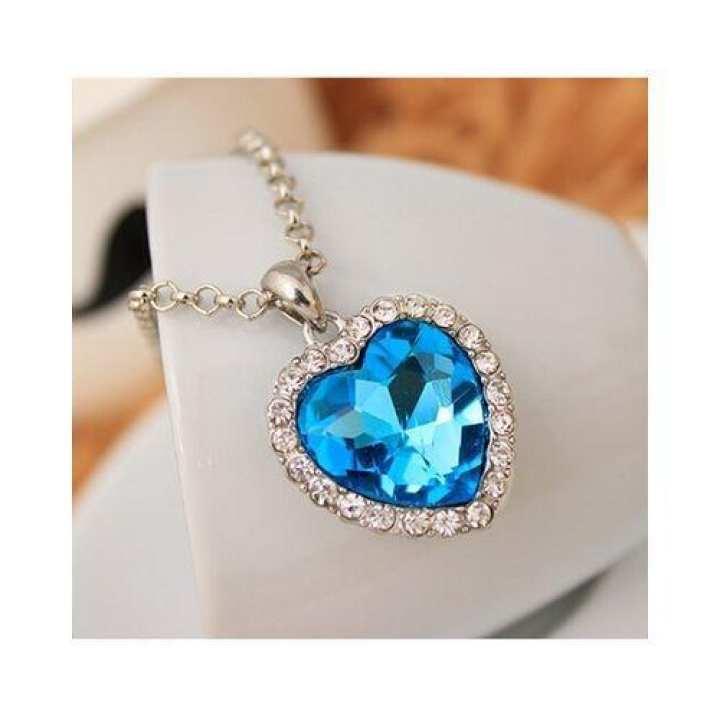 Crystal Rhinestone Heart Necklace Classic Titanic Ocean Lover Gift Pendant