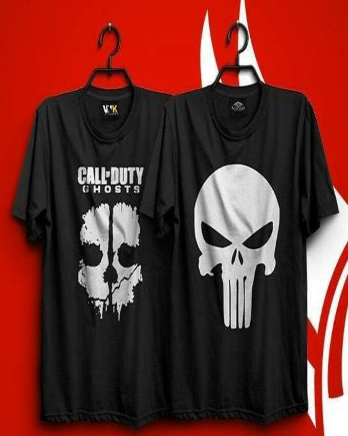 fc36898d5b40 Pack of 2 Black Call of Duty and Punisher Printed T Shirts for Women