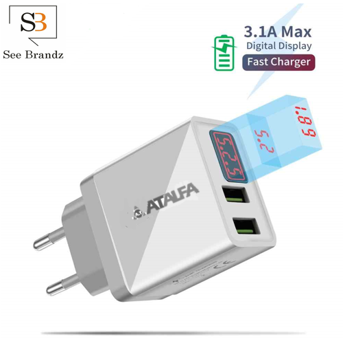 ATALFA LCD Digital Display Dual Port 5V/3.1 Max Output Fast Charging High Built Quality Wall Adapter/Charger