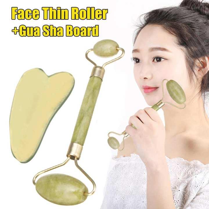 Natural Guasha Facial Jade Roller Face Thin+Body Gua Sha Board Massager Tool Set
