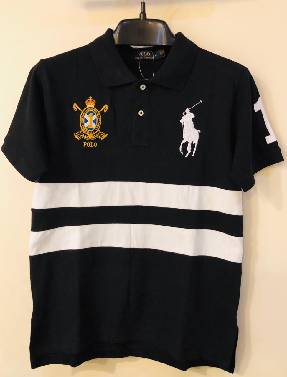 abcb79b42b7 Mens RL Polo Shirts Premium Range Black White Executive Style