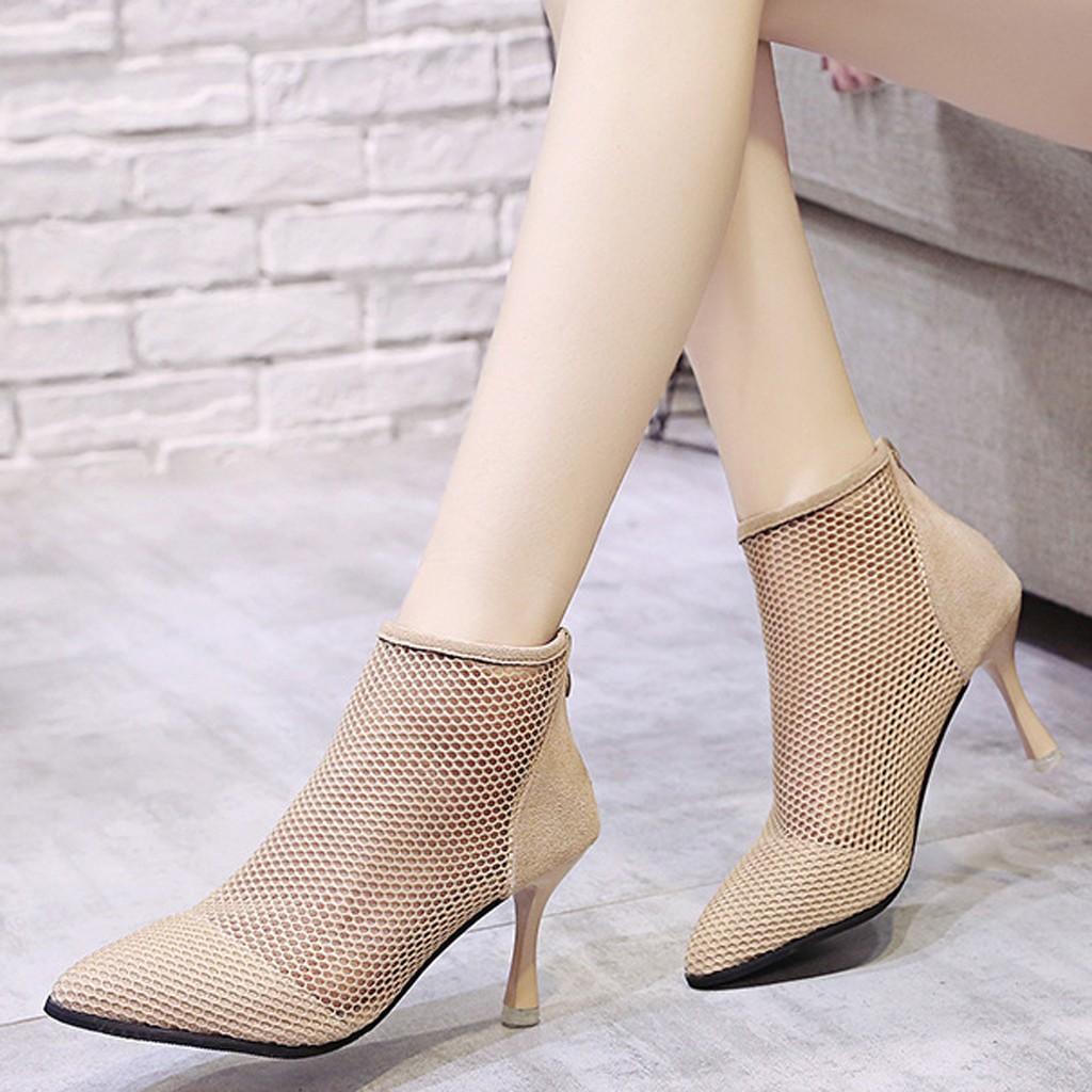 a4f0711a13468 Women's Zipper Summer Roman Hollow Fashion Mesh High Heels Shoes