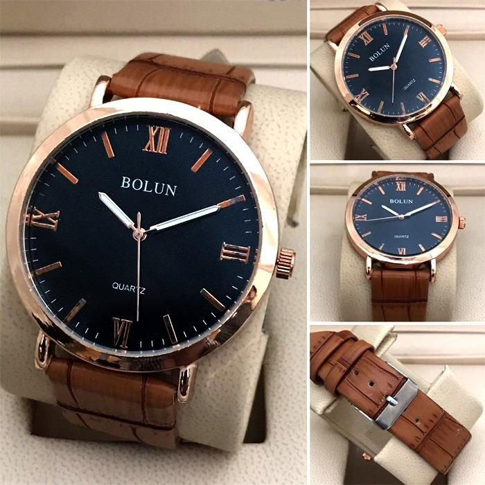 Wrist Watch Roman Numeral Classic Leather Luminous Brown Leather Strap Wrist Watch for Mens