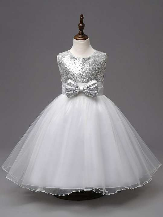 Sequence dress for girls white