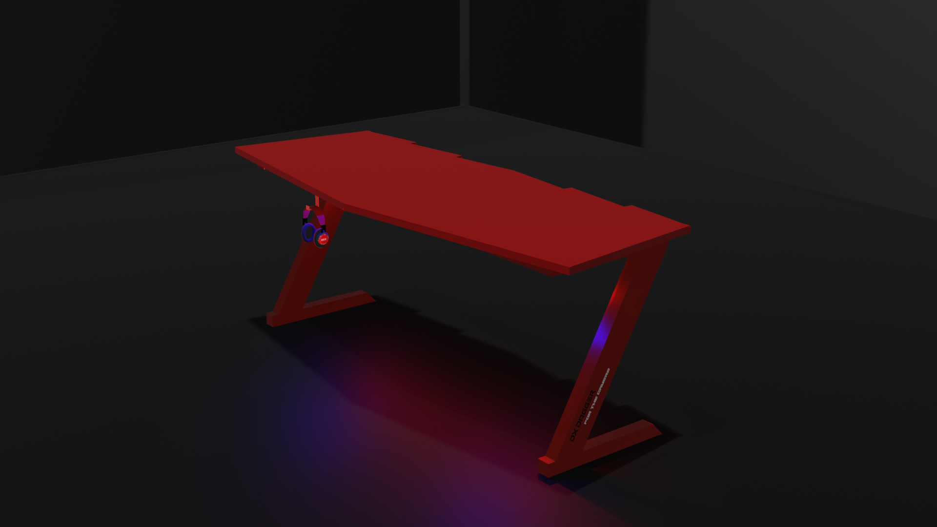Gaming Table - DX_DAGGER Gaming Desk - Pc Gaming Table - PS4 Xbox Gaming Table - Computer Laptop Table - Led Table - Wide Designed Assembled Table - Study Table - Red Shaped Wood Surface Furniture - Headphones Holder - Workstation Gaming Table