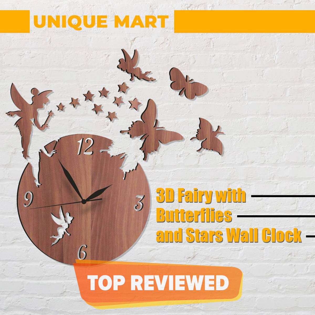 Wooden Wall Clock Home Decor Watches, Laser Cut Wooden Wall Clock in stylish design with Fairy, Stars and Butterflies.