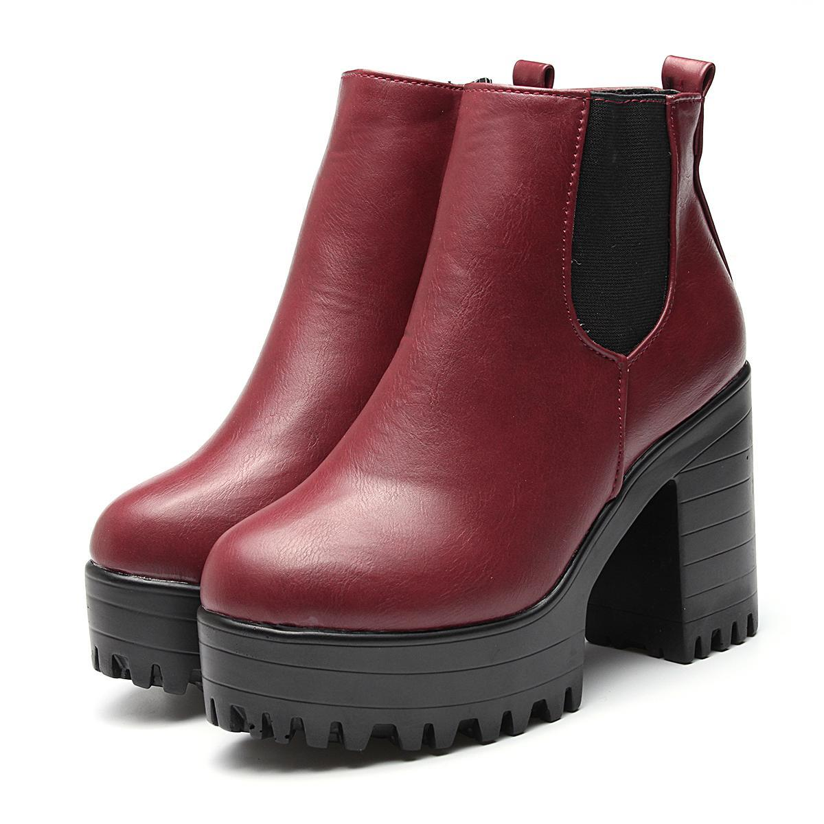 a8f605048 Women Ladies Ankle Boots Chunky Platforms Block High Heels Zipper Shoes New