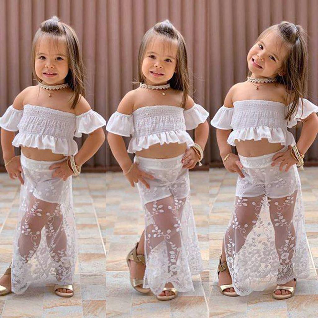 a7841c84b7a Toddler Baby Girls Off Shoulder Solid Crop Tops+Lace Skirt Pantskirt Outfits  Set