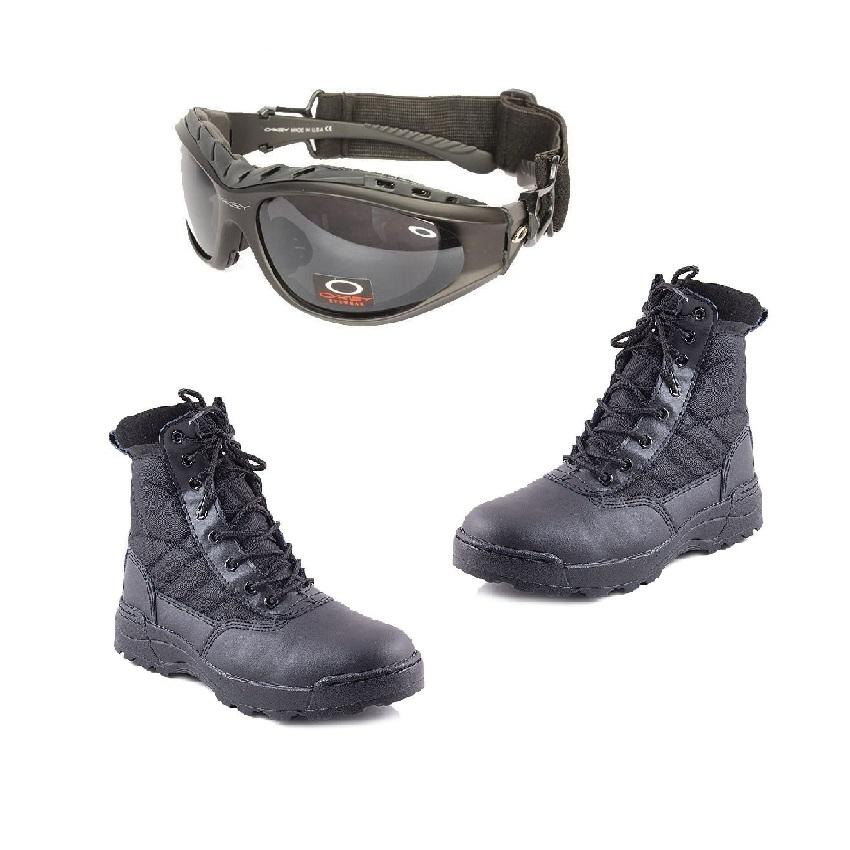 ce3ff467bba Pack of 2 - All Purpose Oakley Goggles + Swat Shoes for hiking trekking  travel- Black