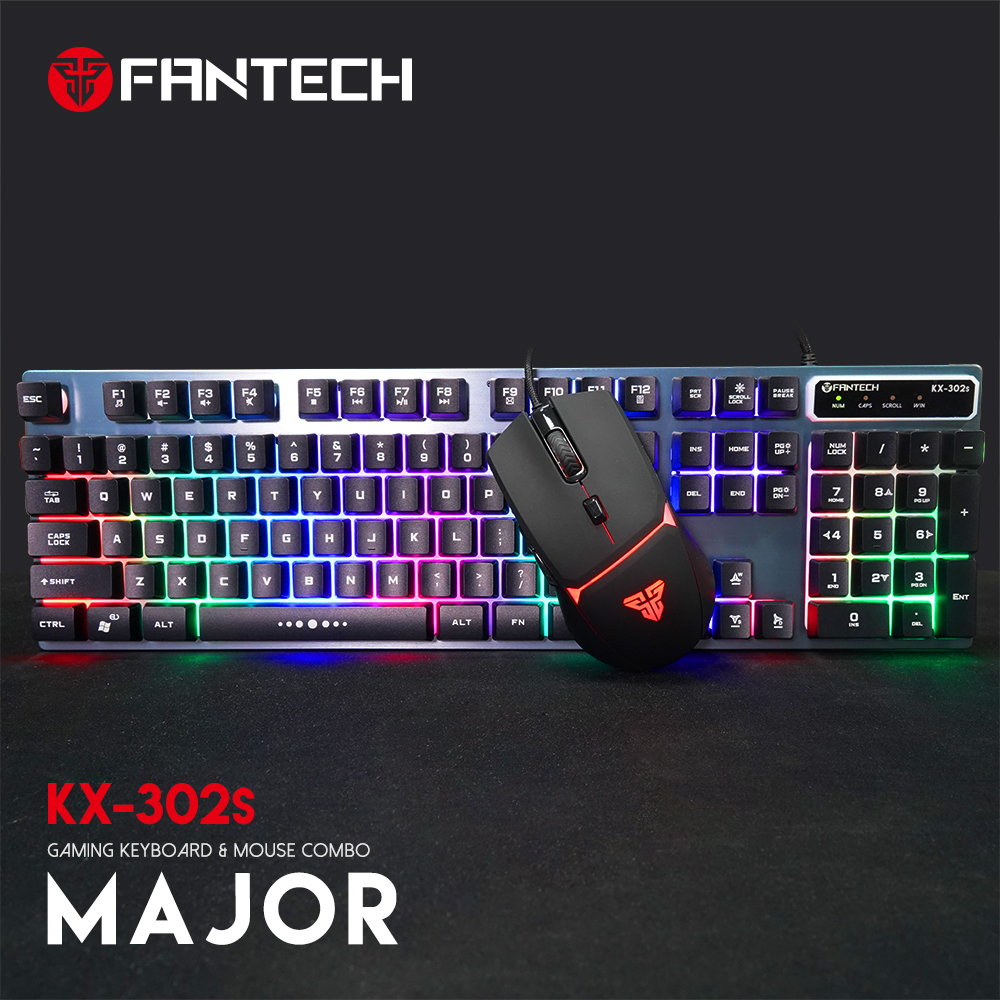 Fantech Kx-302 Major Combo Wired Gaming Mouse And Keyboard With Software For Pc Laptop Games