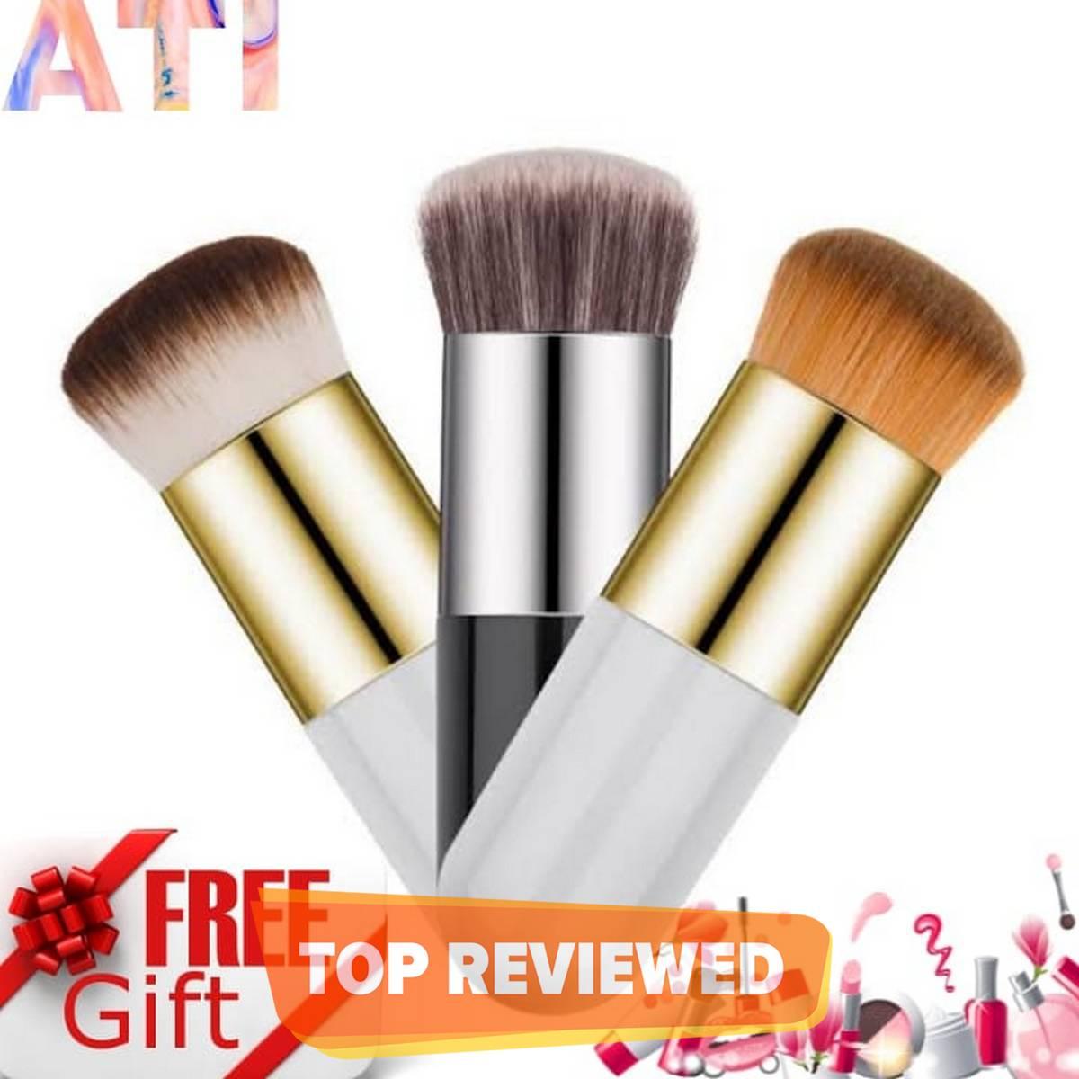 Chubby Pier Foundation Brush - Kabuki Foundation Brush - Blush On Brush - Flat Cream Makeup Brushes Professional Cosmetic Makeup Brush Set (Pack Of 2) Eyeshadow, Eyebrow Eyeliner, Lipstick & Kajal Pencil