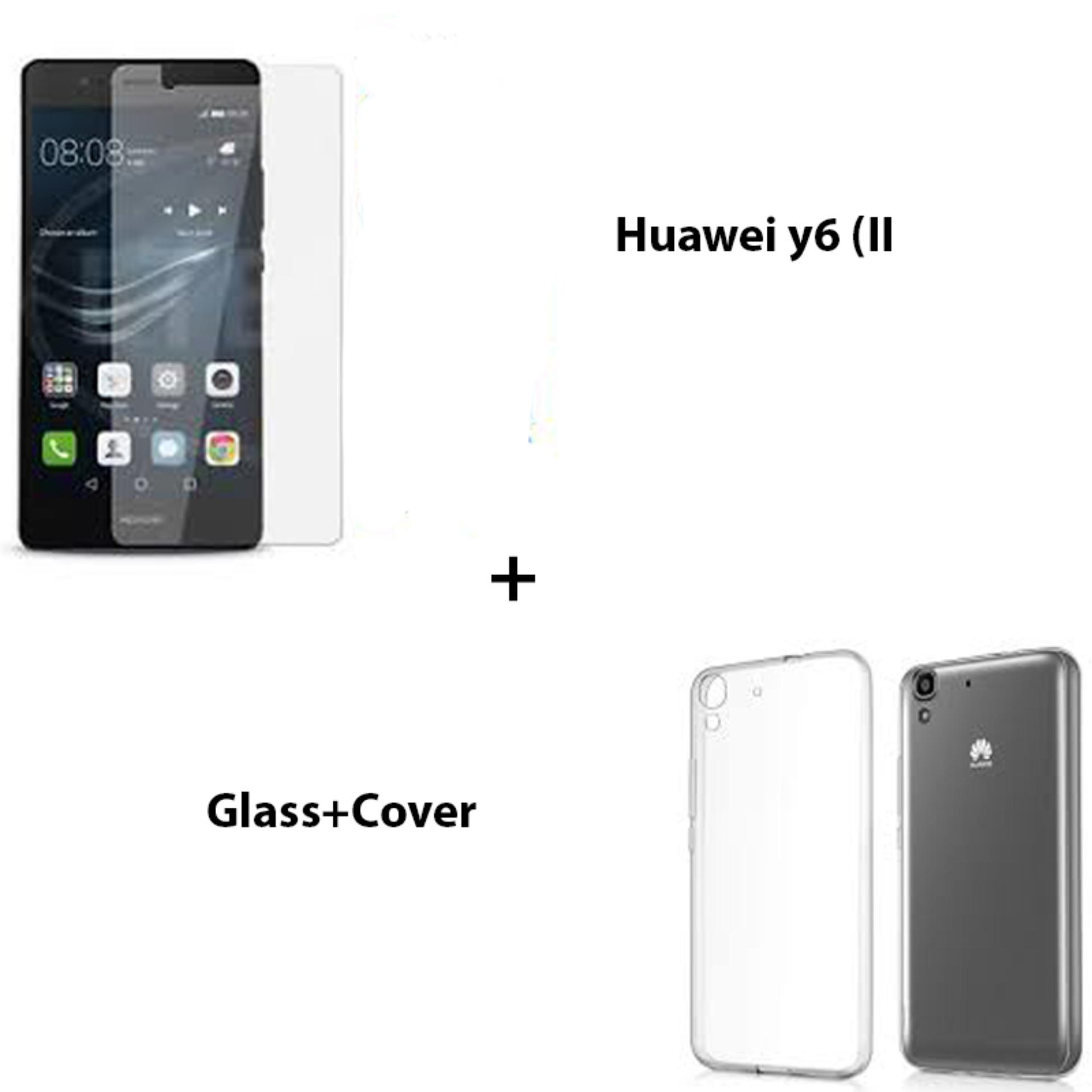 Pack of 2 Huawei Y6II Tempered Glass Screen Protector & Transparent Back Cover For Y6 – Second Generation
