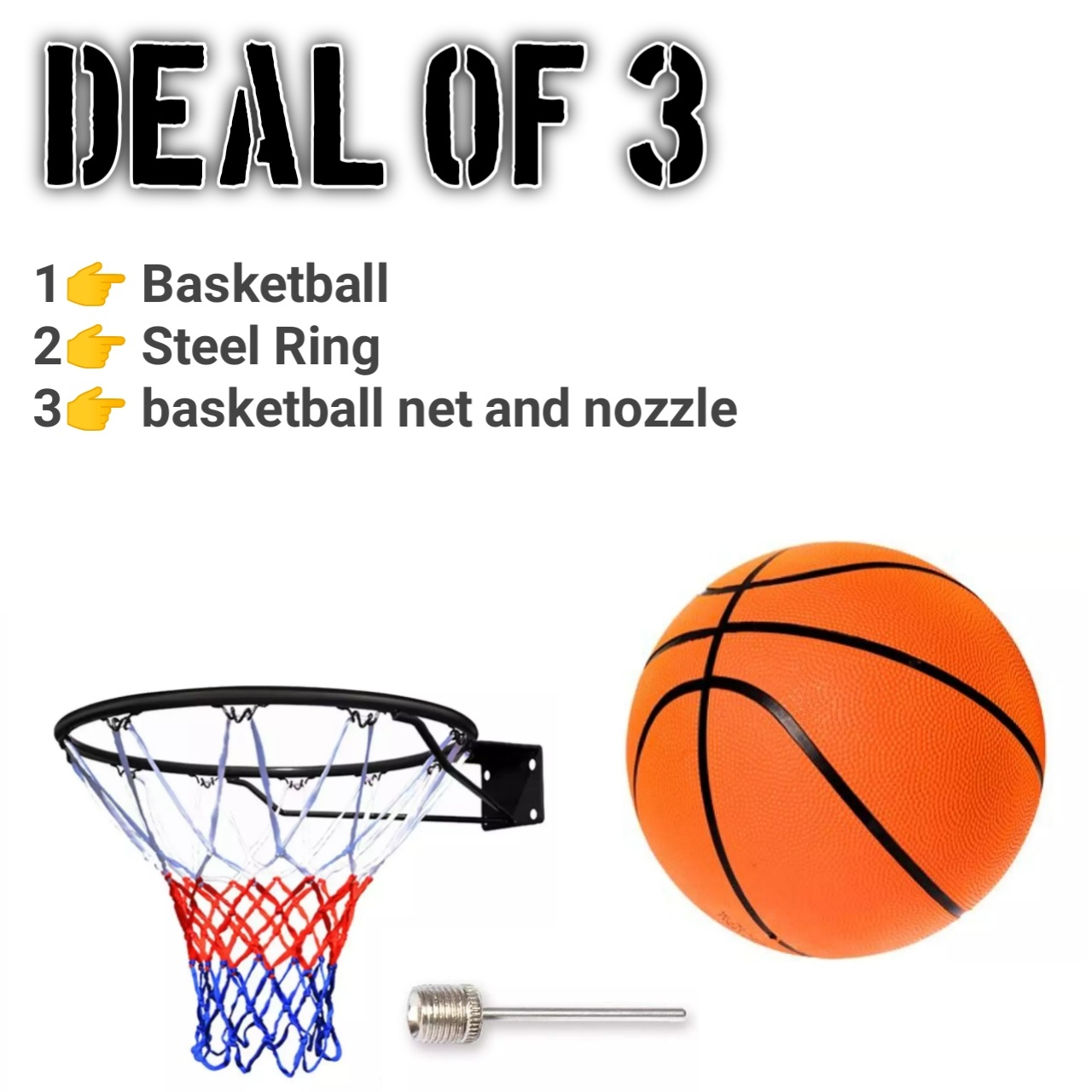 Basket Ball With Net & Steel Ring- Standard Size - Multicolor