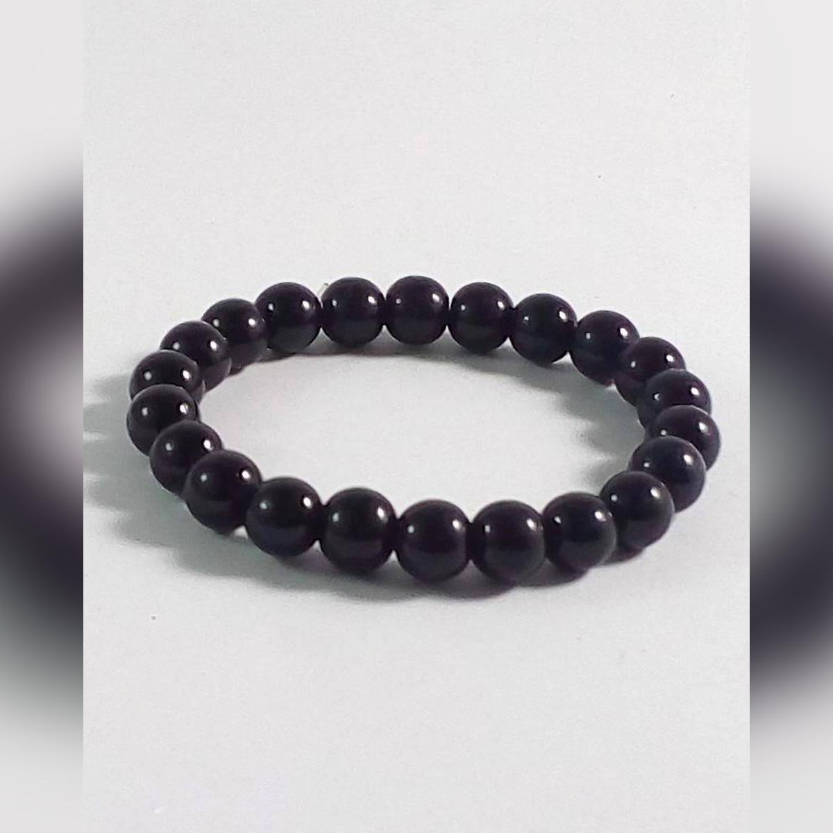 Black Bead Charm Bracelet
