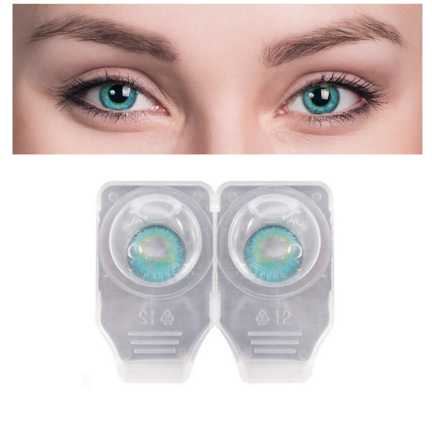 Eyes Contact Lenses Color lense WIith Case + Water / Event 3 Tone Contact Lenses Eye Wear + free water kit / disposible lenses / lense, eye lense / color lense / eye lenses for girls