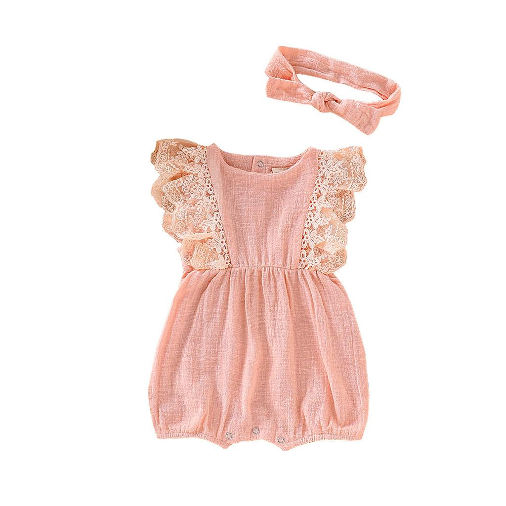 e5c1cf6890ab1 Rainbowroom 2019 Infant Kids Baby Girl Lace Ruffled Romper Bodysuit Hair  Band Outfit Summer