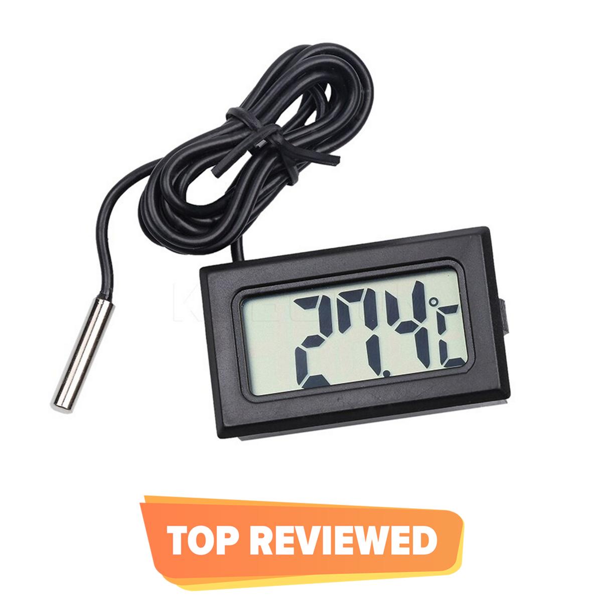 TPM10 Mini LCD Digital Instant Read Thermometer Mini Room Temperature Meter Real Time Aquarium Fish Tank Temperature Meter With Waterproof Sensor In Black Color