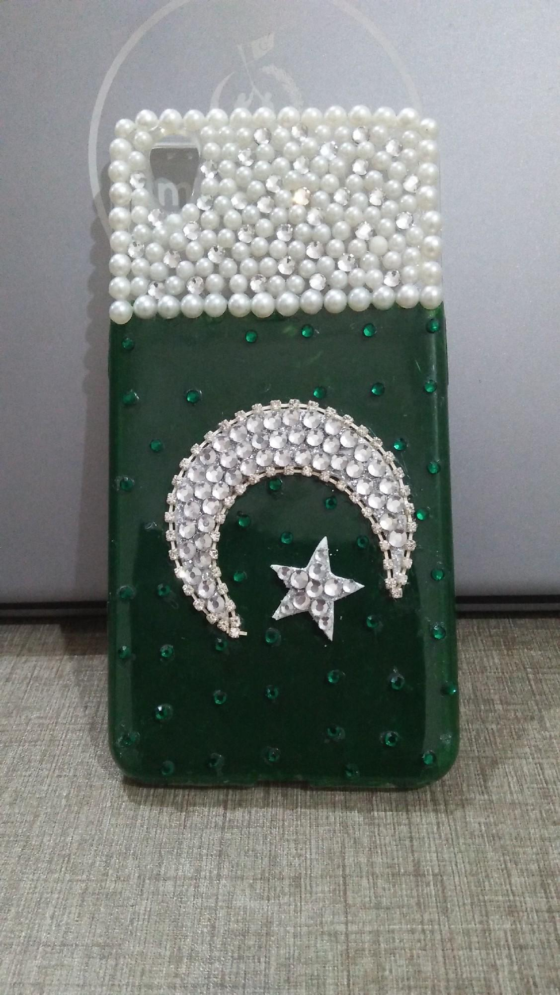 I Phone 7 plus Hand Made Pakistan Independence day 14 August fancy Beads  mobile cover