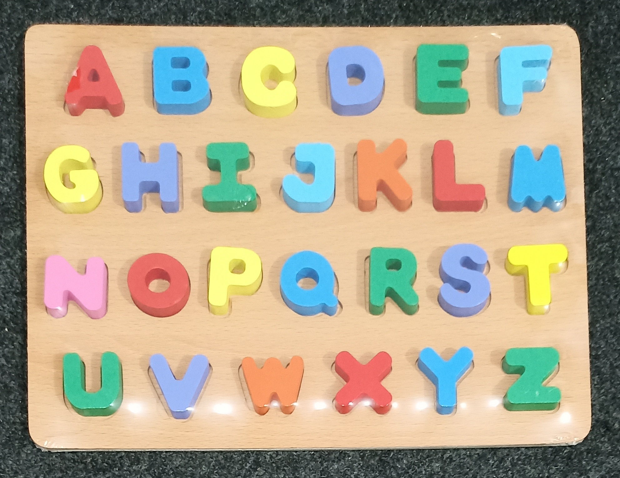 Wooden Capital Alphabets Puzzle Set for Toddlers ABC Wooden Puzzle Board Game | 3D Alphabet Letters Wooden | Early Childhood English learning Educational Toy | Colorful Preschool Learning Cognition Letters | Early Development Toy