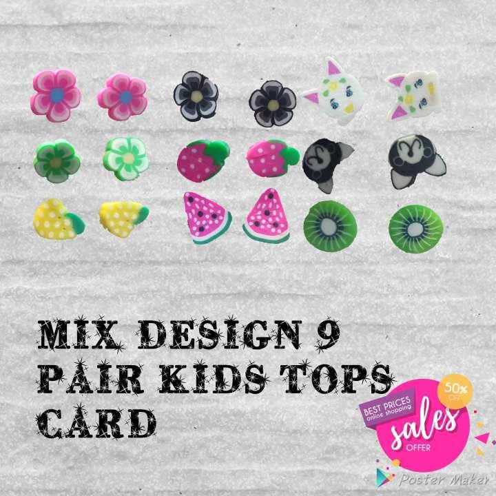 Exclusive! Mix Design 9 Pair Kids Stud Tops Card