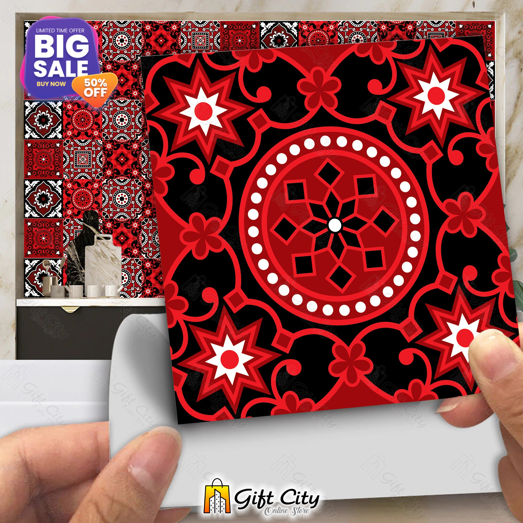 Ajrak Sindhi Tile Stickers Pack of 6 / 12 / 24 / 48 / 102 Pcs 12x12 cm Black and Red Design Wall Decorative Self Adhesive Tiles Stickers Kitchen Sticker Wall Wallpaper Border Decoration Gift City
