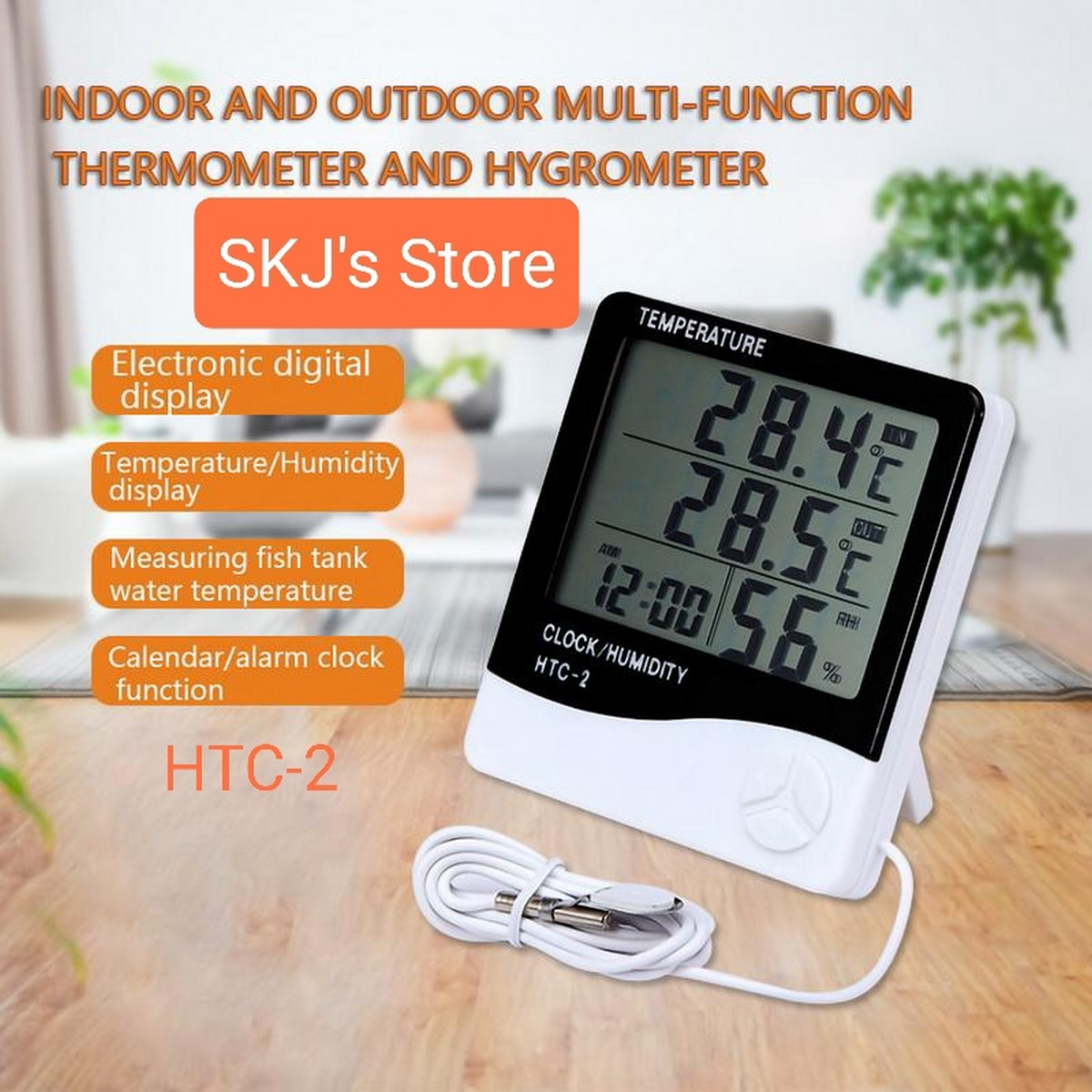 SKJ Digital Thermometer and Hygrometer with wire for outside tempreture, Clock, Alarm, Calender with Big Digits - HTC 2 Tempreture Meter and Humidity Meter for indoor and outdoor tempreture guage with probe