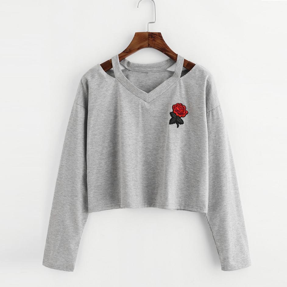 Fashion Womens Long Sleeve Sweatshirt Rose Print Causal Tops Blouse