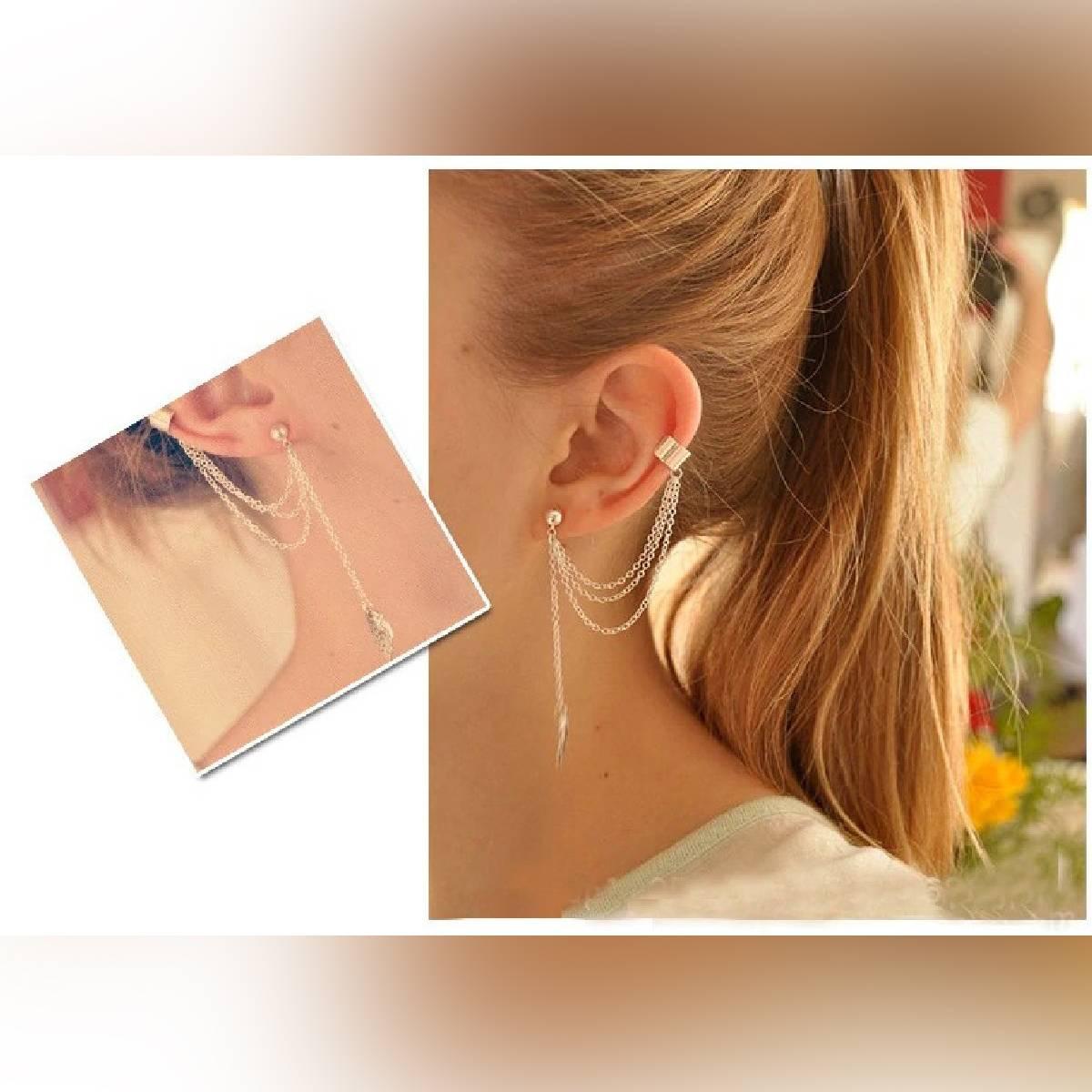 1pc Leaves Clip On Earrings for Women Fashion Metal Tassel Earrings Gift Ear Cuffs